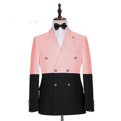 Maximus Pink Double Breasted Slim Fit Fashion Men Suits for Prom_2
