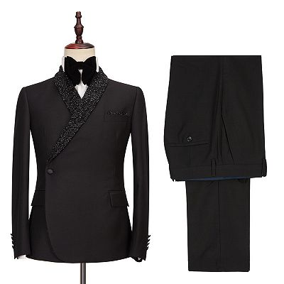 Colby Sparkly Shawl Lapel Black One Button Wedding Suits_3