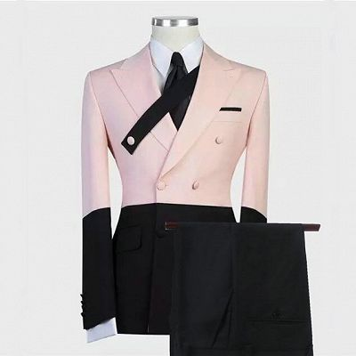 Rafael Pink and Black Double Breasted Peaked Lapel Men Suits_2