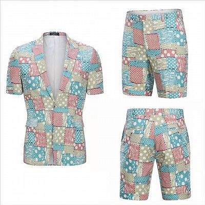 Irregular Geometric Splicing Men's Suits for Summer   2 Piece Cotton Casual Suits for Seaside_5