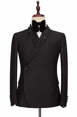 Colby Sparkly Shawl Lapel Black One Button Wedding Suits_1