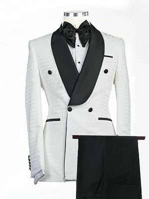 Drew White Jacquard Double Breasted Shawl Lapel Wedding Groom Suits_1