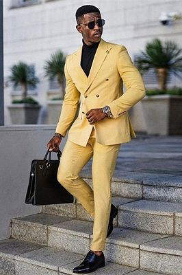 Jaxson Yellow Double Breasted Peaked Lapel Prom Men Suits_1