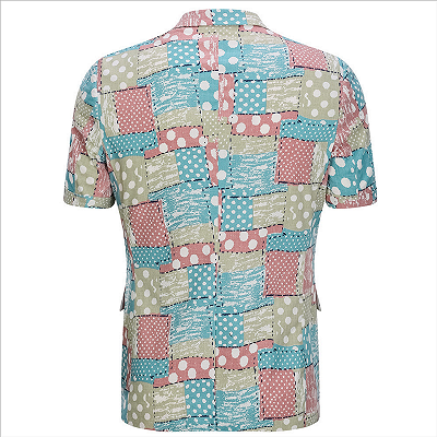 Irregular Geometric Splicing Men's Suits for Summer   2 Piece Cotton Casual Suits for Seaside_2