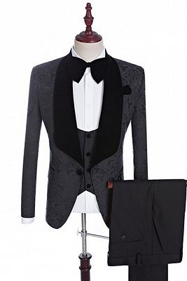 Xander Black Jacquard Three-Pieces Shawl Lapel Wedding Suits for Men
