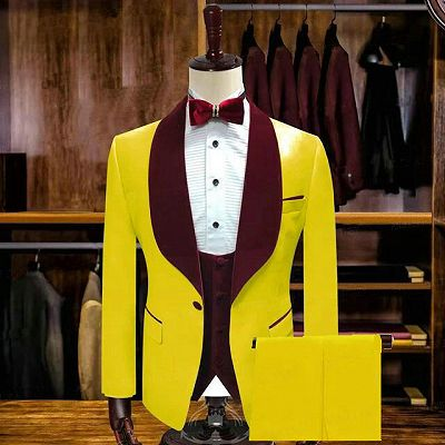 Pedro Yellow One Button Wedding Groom Suits with Velvet Lapel_2