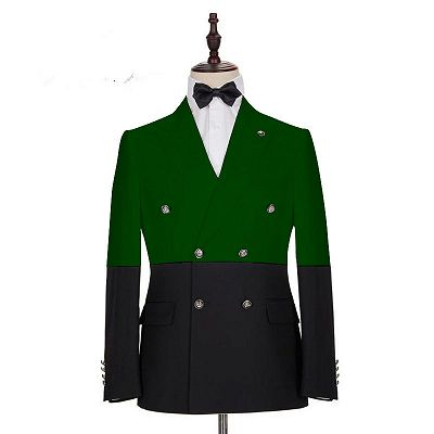 Marcos Dark Green and Black Bespoke Slim Fit Double Breasted Men Suits_2