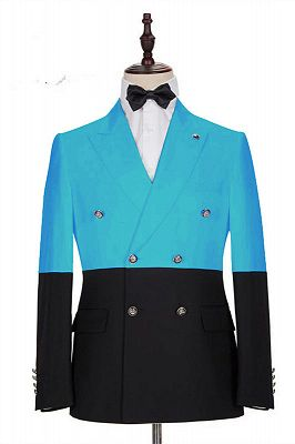 Aden Stylish Blue Double Breasted Best Slim Men Suits Online