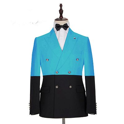Aden Stylish Blue Double Breasted Slim Fit Men Suits Online_2