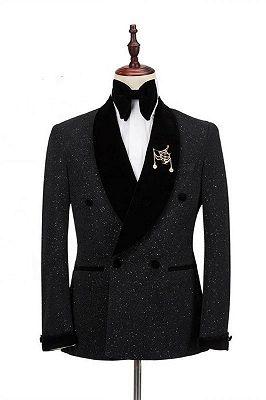 Gary Spark Black Shawl Lapel Double Breasted Wedding Blazer_1