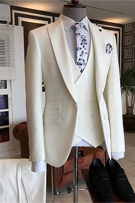 Caiden White Three Pieces Peaked Lapel Bespoke Men Suits for Wedding_1