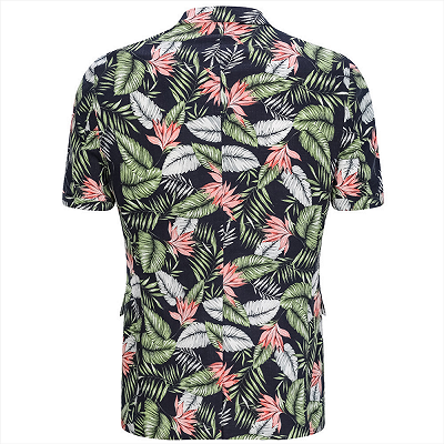 tylish Hawaiian Leaf Printed Summer Men's Suit | 2 Piece Casual Short Cotton Suits for Beach_2