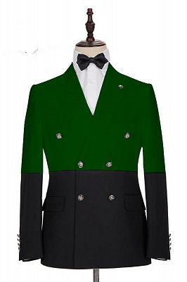 Marcos Dark Green and Black Bespoke Slim Fit Double Breasted Men Suits_1