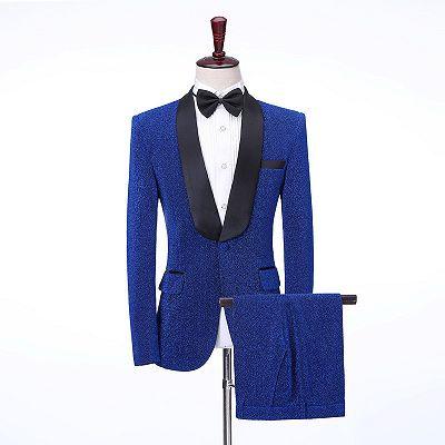 Kameron Royal Blue Shawl Lapel Shiny Slim Fit Wedding Men Suits_2