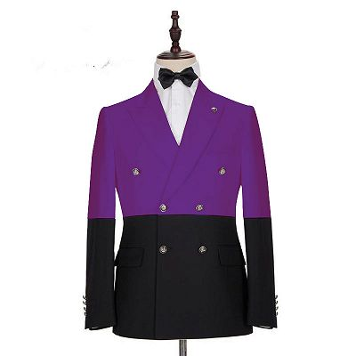 Emanuel Purple Double Breasted Peaked Lapel Prom Men Suits Online_2