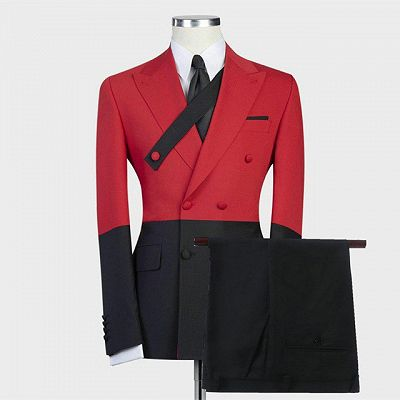 Griffin Red Double Breasted Slim Fit Stylish Men Suits for Prom_2