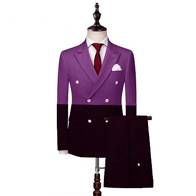 Joaquin Fashion Double Breasted Peaked Lapel Prom Men Suits_2