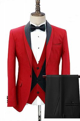 Jonas Red Three Pieces Fashion Shawl Lapel Men Suits for Wedding_1