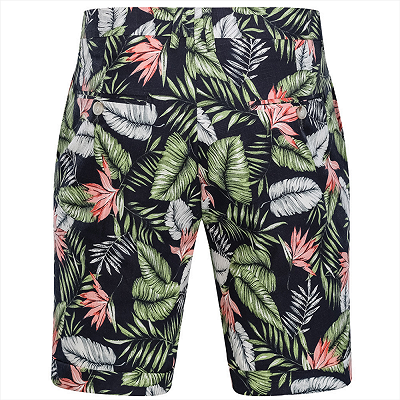 tylish Hawaiian Leaf Printed Summer Men's Suit | 2 Piece Casual Short Cotton Suits for Beach_3