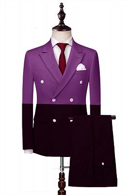 Joaquin Fashion Double Breasted Peaked Lapel Prom Men Suits_1