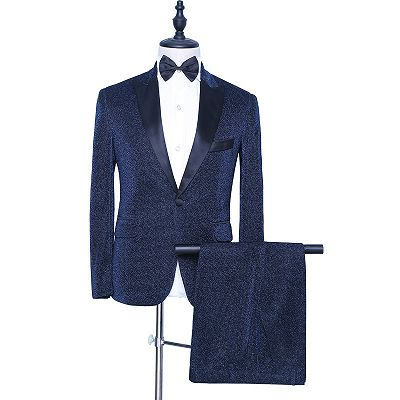 Payton Sparkly Dark Navy Peaked Lapel Fashion Men Suits for Prom_2