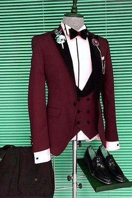 Devon Slim Fit Burgundy Three Pieces Men Suits with Black Peaked Lapel_1