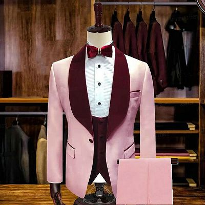 Tyson Candy Pink Stylsih Shawl Lapel Slim Fit Men Suits for Wedding_2