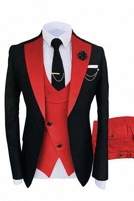 Griffin Black Three Pieces Peaked Lapel One Button Men Suits Online_1