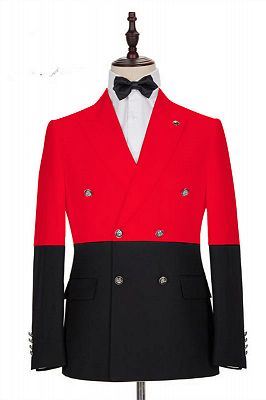 Mateo Red Double Breasted Peaked Lapel Men Suits for Prom