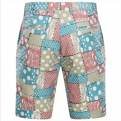 Irregular Geometric Splicing Men's Suits for Summer   2 Piece Cotton Casual Suits for Seaside_4