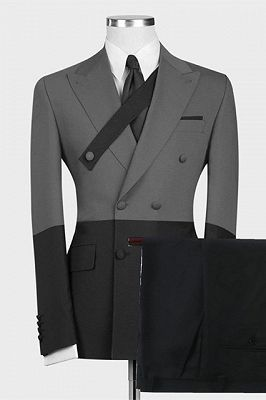 Kingston New Arrival Gray and Black Slim Fit Stylish Men Suits Online_1