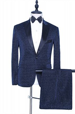 Payton Sparkly Dark Navy Peaked Lapel Fashion Men Suits for Prom_1