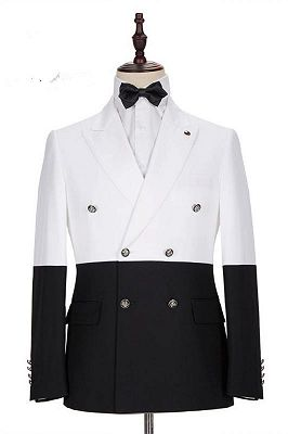 Morgan White and Black Peaked Lapel Double Breasted Jacket_1