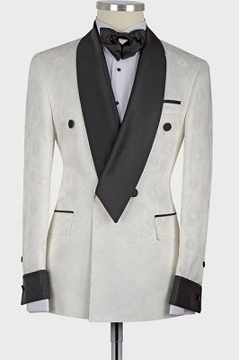 Jaxson White Shawl Lapel Double Breasted Fashion Slim Fit Wedding Groom Suit