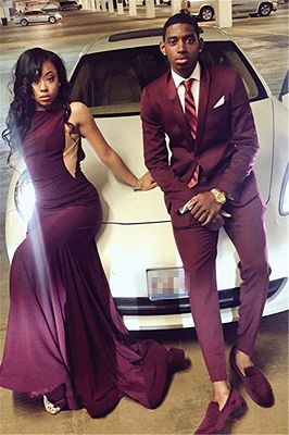 Burgundy Slim Fit Men Suit | Two Pieces Bespoke One Button Prom Suit_1
