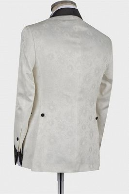 Jaxson White Shawl Lapel Double Breasted Fashion Slim Fit Wedding Groom Suit_2