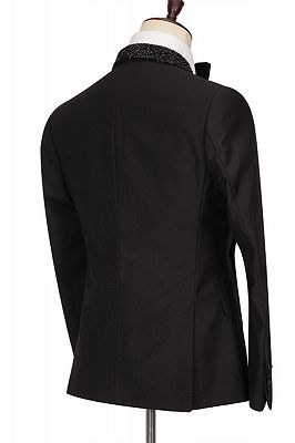 Colby Sparkly Shawl Lapel Black One Button Wedding Suits_2