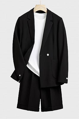 Uriel Black Stylish Notched Lapel Loose Summer Men Suits_1