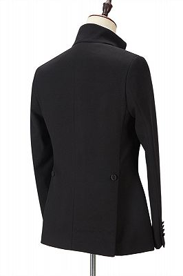 Shaun Black Fashion Slim Fit Peaked Lapel Men Suits for Prom_2