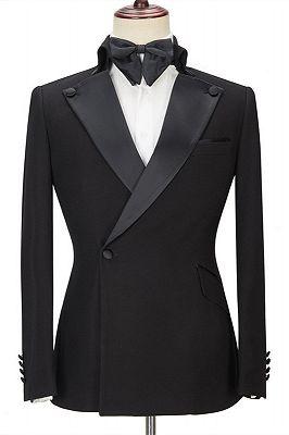 Shaun Black Fashion Slim Fit Peaked Lapel Men Suits for Prom_1