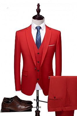 Red Fashion Notched Lapel Tuxedo | Bespoke Three Pieces Men Suits_1