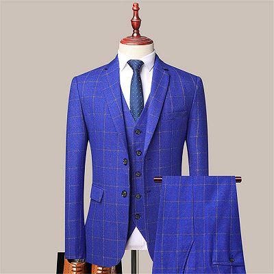 Reece Royal Blue Stylish Plaid Slim Fit Formal Men Suits_2
