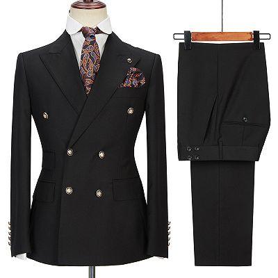 Black Men Suits Online | Peak Lapel Blazer with Double Breasted_3