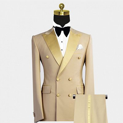 Reed Gold Peaked Lapel Double Breasted Bespoke Men Suit for Prom_2