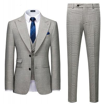 Titus Gray Plaid Fashion Peaked Lapel Slim Fit Men Suit for Prom_2