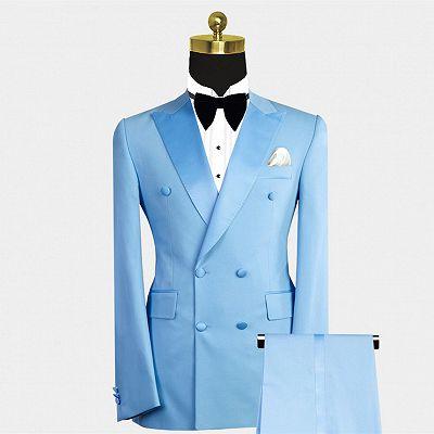 Phoenix Fashion Blue Peaked Lapel Double Breasted Men Suits_2