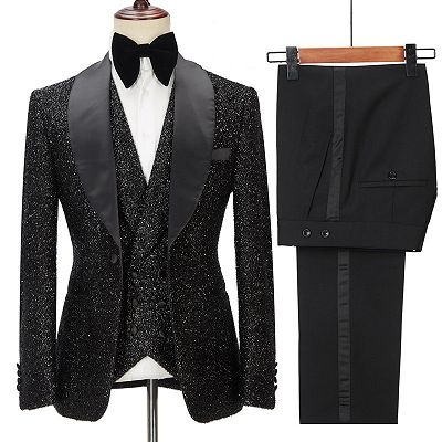 Kane Sparkly Black Three Pieces Shawl Lapel Bespoke Wedding Suit for Men_2