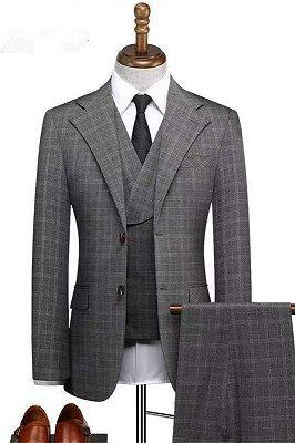 Zachariah Fashion Notched Lapel Plaid Three Pieces Formal Business Men Suits_1