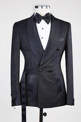 Ernesto Black Double Breasted Shawl Lapel Jacuqard Wedding Suit_1