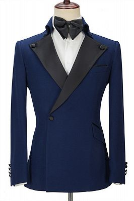 Davion Dark Navy Peak Lapel Two Pieces Stylish Men Suit for Prom_1